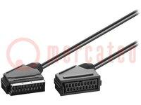 Kábel; SCART zásuvka, SCART vidlica; 2m; čierna