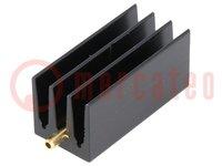 Hűtő: extrudált; bordás; TO220; fekete; L:35mm; W:16mm; H:16mm