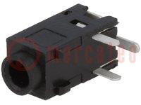Conector hembra; Jack 2,5mm; hembra; stereo; vías:3; para PCB; THT