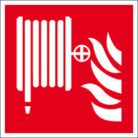 Brandschutzschild, Alu, nachleuchtend, Löschschlauch, Größe: 20,0 x 20,0 cm DIN EN ISO 7010 F002 ASR A1.3 F002