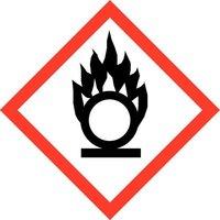 """GHS 03 Schild, Symbol """"Flamme über Kreis"""", Folie, 21 x 21 mm, Bogen mit 35 Stück, Artikelbild"""