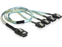 Kabel, mini SAS 36 Pin zu 4 x SATA Metall (SFF 8087 zu 4 x SATA) 0,5m, Delock® [83058]