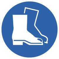 Schutzschuhe benutzen Gebotsschild auf Bogen, Folienetiketten, gestanzt, 3cm DIN EN ISO 7010 M008 ASR A1.3 M008