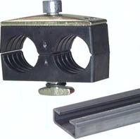 Kunststoff 4, Doppelrohrschelle mit Deckplatte und Tragschienenmuttern Typ KMA zum Aufbau auf C-Tragschienen TS 28 ...