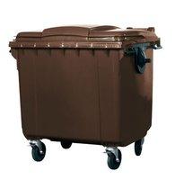 Großmüllbehälter aus Polyethylen (PE), 1100 Liter Volumen, braun, Abb. ähnlich