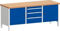 Produktbild - cubio Kastenwerkbank mit 3 Schubladen 2 Türen, 2 Ablagen, Rotbuche-Arbeitspl. BxTxH: 2000x750x840mm RAL 7035/5010