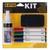 BI-OFFICE Kit 4 marqueurs effaçables à secs, brosse magnétique et un spray nettoyant 125 ml
