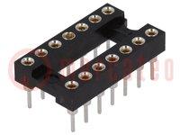 Zócalos: DIP; PIN:14; 7,62mm; dorado; poliéster; UL94V-0; 1A; THT