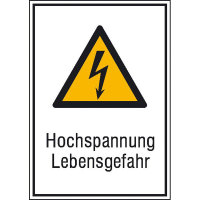 Warn-Kombischild Hochspannung Lebensgefahr, Alu geprägt, Größe 13,10x18,50 cm DIN EN ISO 7010 W012 + Zusatztext ASR A1.3 W012 + Zusatztext