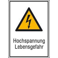 Hochspannung Lebensgefahr Warnschild, selbstkl. Folie, Größe 13,10x18,50cm DIN EN ISO 7010 W012 + Zusatztext ASR A1.3 W012 + Zusatztext