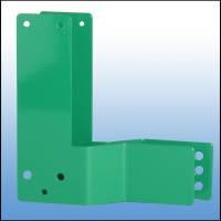 Gekröpfte Montageplatte, 30 mm Versatz, DIN links, grün