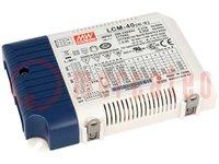 Tápegység: impulzusos; LED; 42W; 2÷100VDC; 350÷1050mA; 180÷295VAC