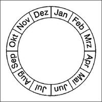 Modellbeispiel: Monatsplakette (Grundplakette) für Prüfplaketten