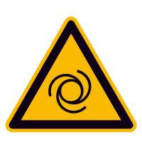 Warnung vor automatischem Anlauf Warnschild, selbstkl. Folie, Größe 10cm DIN EN ISO 7010 W018 ASR A1.3 W018