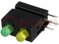 LED; házban; zöld, sárga; 3mm; Dióda szám:2; 20mA; λd zöld:568nm
