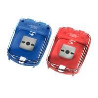Modellbeispiel: Handmelder-Abdeckung -e-Cover® groß- in blau und rot, (v.l. Art. 34769, 34768)