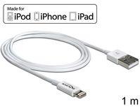 USB Daten- und Ladekabel für iPhoneÖ, iPadÖ, iPodÖ, weiß, 1m, Delock® [83560]