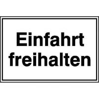 Einfahrt freihalten Hinweisschild für Einfahrten, Alu geprägt, Größe 25x15 cm