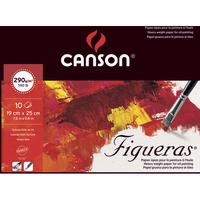 CANSON Bloc 10 feuilles peinture à l'huile, collées 1 côté FIGUERAS, 19x25, 290G, grain toile Blanc