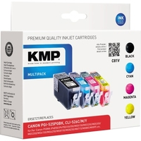 KMP Tintenpatrone Canon PGI525PGBK/CLI526C/CLI526M/CLI526Y C81V ca. 530 Seiten cyan, ca. 450 Seiten magenta, ca. 450 Seiten gelb schwarz, mehrfarbig ca. 3 x 9 mlml 4 St./Pack.