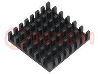 Hűtő: extrudált; fekete; L:27mm; W:27mm; H:6mm; alumínium