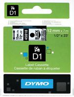 D1 Schriftband D1, Kunststoff, laminiert, 7 m x 12 mm, Schwarz/Transparent