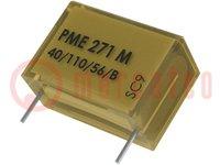 Condensador: de papel; X2; 100nF; 275VCA; Ráster:20,3mm; ±20%; THT