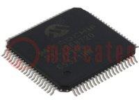 PIC mikrokontroller; EEPROM:1024B; SRAM:3840B; 25MHz; SMD; TQFP80