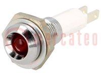 Ellenőrző lámpa: LED; homorú; Furat: Ø9mm; NYÁK-ra; réz; ØLED:5mm