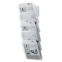 helit Prospekthalter Set H6103102 DIN A4 5Fächer glasklar +Wandhalter