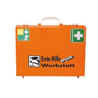 Erste Hilfe Koffer orange, Basisinhalt nach DIN 13157, Zusatzbefüllung f. Werkstatt,Gr. 40x30x15cm DIN 13157