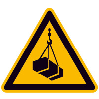 Warnschild,Alu,Warnung vor schwebender Last,Größe: 20,0 cm DIN EN ISO 7010 W015 ASR A1.3 W015