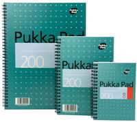 Pukka Pad Mettallic Jotta Nbk Wirebound 80gsm Ruled Margin Perf Punch 4 Hole 200pp A4+ Ref JM018 [Pack 3]