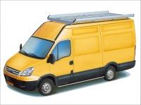 Dachgepäckträger aus Aluminium für Iveco Daily, Bj. 2000-2014, Radstand 3000Lmm, Laderaumvolumen 8,3m³