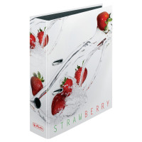 Ordner maX.file A4 8cm Fresh Fruit Erdbeere, Bilderdruckpap. celloph./Papier sw