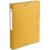 EXACOMPTA Chemise 3 rabats et élastique Exatobox dos de 4 cm, en carte lustrée 5/10e jaune