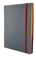 Notizbuch Kunststoff (PP), Spiralgebunden, 90 g/qm, DIN A5, kariert, 90 Blatt