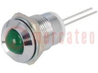 Ellenőrző lámpa: LED; domború; Furat: Ø12mm; NYÁK-ra; réz; ØLED:8mm