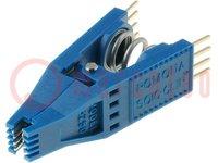Testclips; SOIC; PIN:8; blauw; Rijafstand:10,92/6,6mm; verguld
