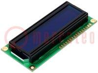 Kijelző: LCD; alfanumerikus; STN Negative; 16x2; kék; LED; 80x36mm