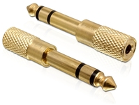 Adapter, Klinke 6,35mm Stecker an 3,5mm Buchse, 3Pin, Metall, Delock® [65361]