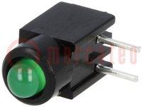 LED; im Gehäuse; grün; 3mm; Anz.Dioden:1; 20mA; Linse: diffus, grün