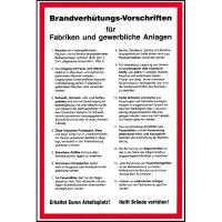 Aushang Brandverhütungs-Vorschriften für Fabriken und, Kunststoff, 20x30 cm