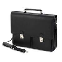 ALASSIO Serviette Traditionnelle noire en simili cuir, 3 compartiments - Dim. L41,7 x H31,5 x P15 cm