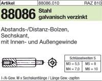 6kt.-Abstandsbolzen M3x10/6