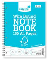 Silvine FSC Notebook Wirebnd 56gsm Ruled Margin Perforated Punched 4 Holes 160pp A4 Ref FSCTW80 [Pack 5]
