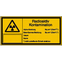 Strahlenschutz Radioaktiv Kontamination Warnschild, selbstkl. Folie,14,80x7,40cm