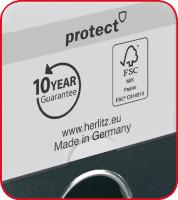 Ordner maX.file protect A4 8cm schwarz, PP-Kunststoffbezug/Papier hellgr. besch.