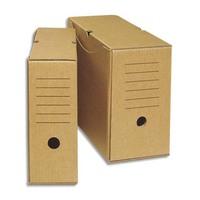 NEUTRE Boîte archives écologique dos 15 cm. Montage manuel. Carton brun.