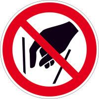Verbotsschild - Verbotszeichen Hineinfassen verboten, Folie, Größe: 10,0 cm DIN EN ISO 7010 P015 ASR A1.3 P015